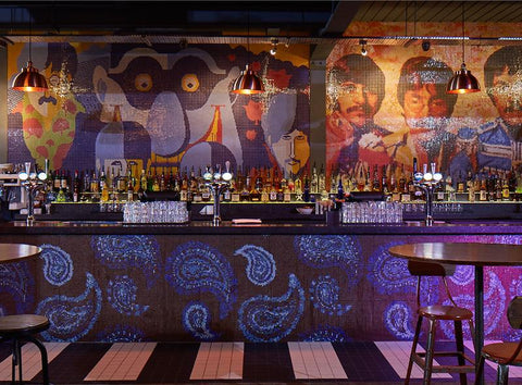 Bar interior with abstract design and industrial lighting