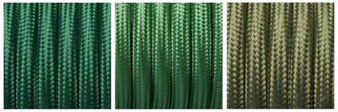 Green fabric flex cables by Industville