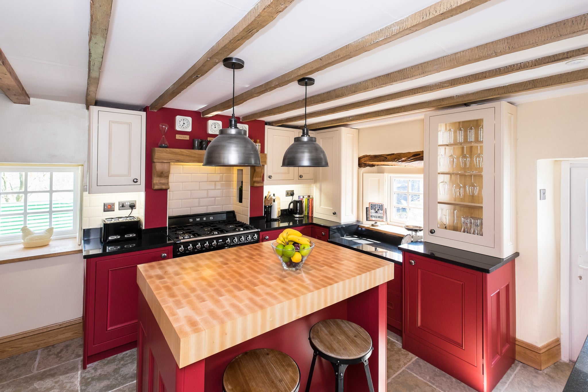 Red interior kitchen design with metallic lights