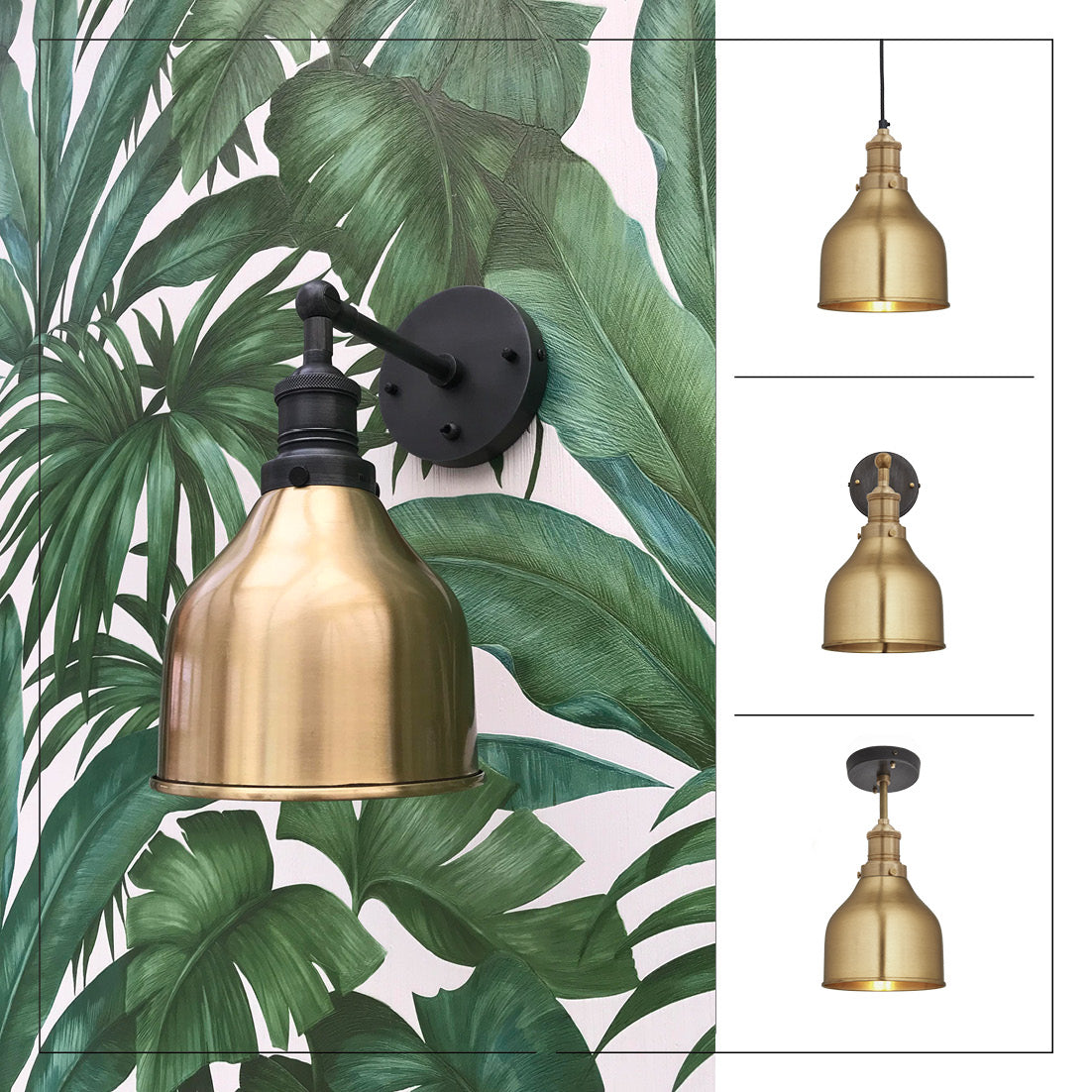 Brass industrial lights with leaf print wallpaper