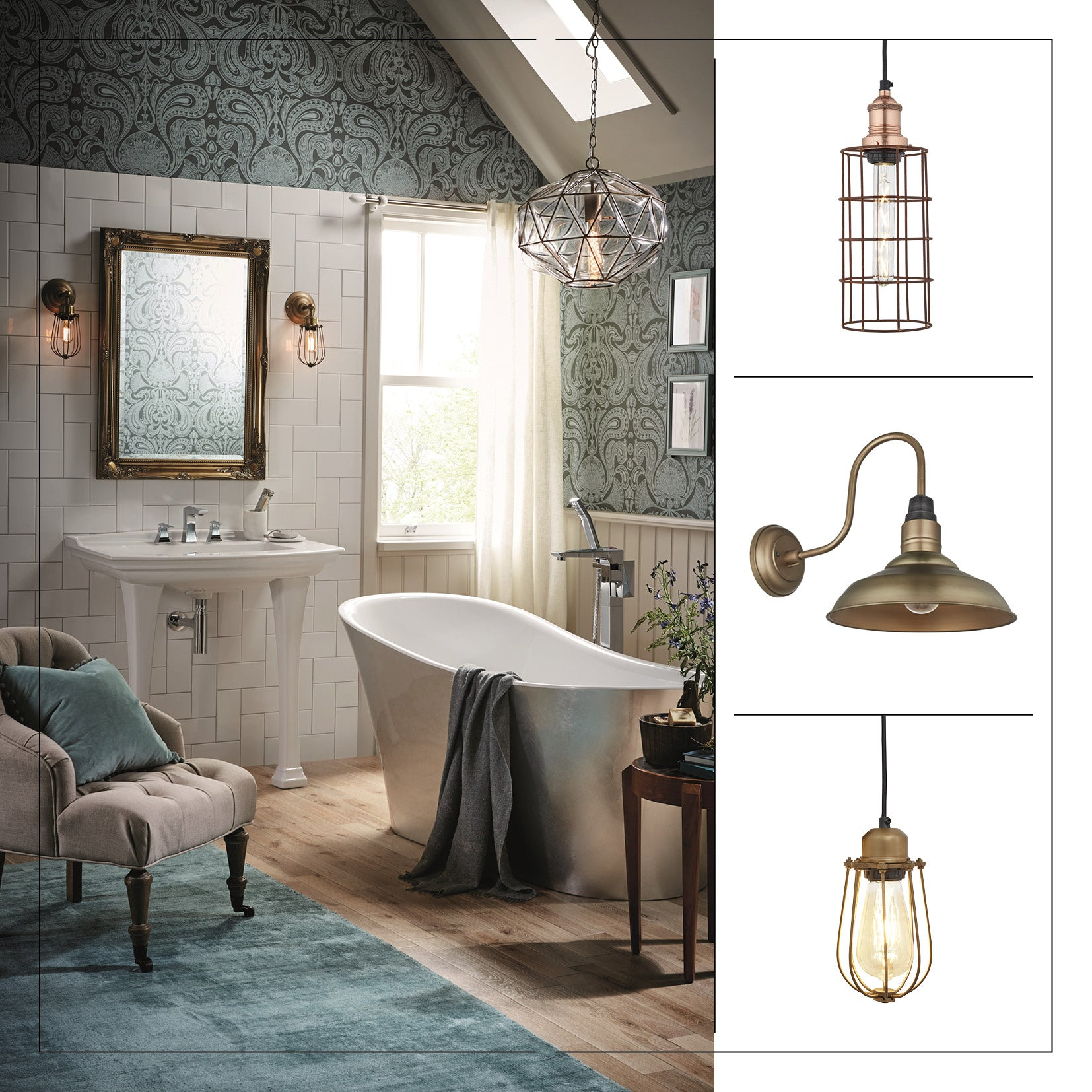 Industrial lights in a chic bathroom