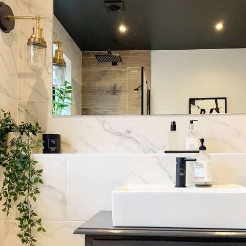 Industrial inspired bathroom decor with plants and vintage wall light
