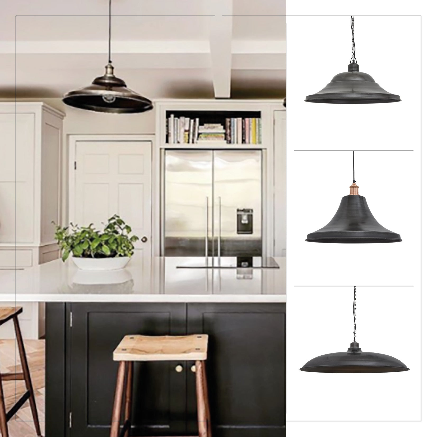 Industrial lights in a kitchen setting