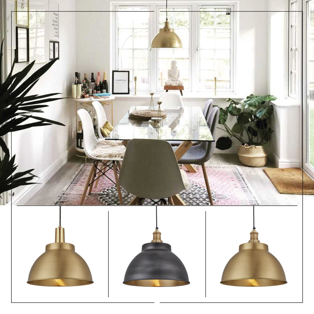 Brass industrial lights over dining table