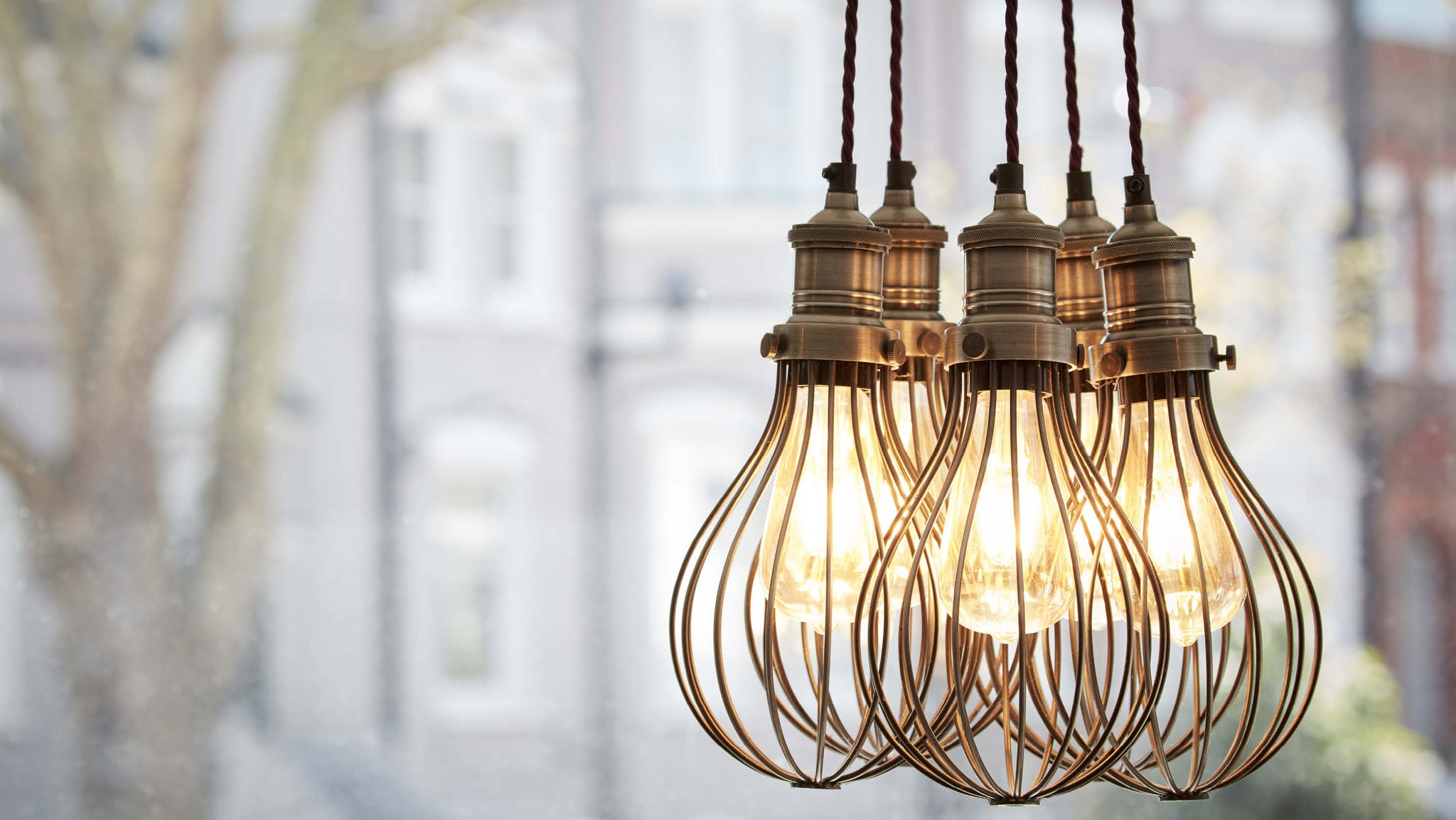 Vintage wire industrial lights