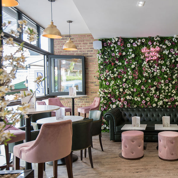 Floral wall interior in a restaurant/bar