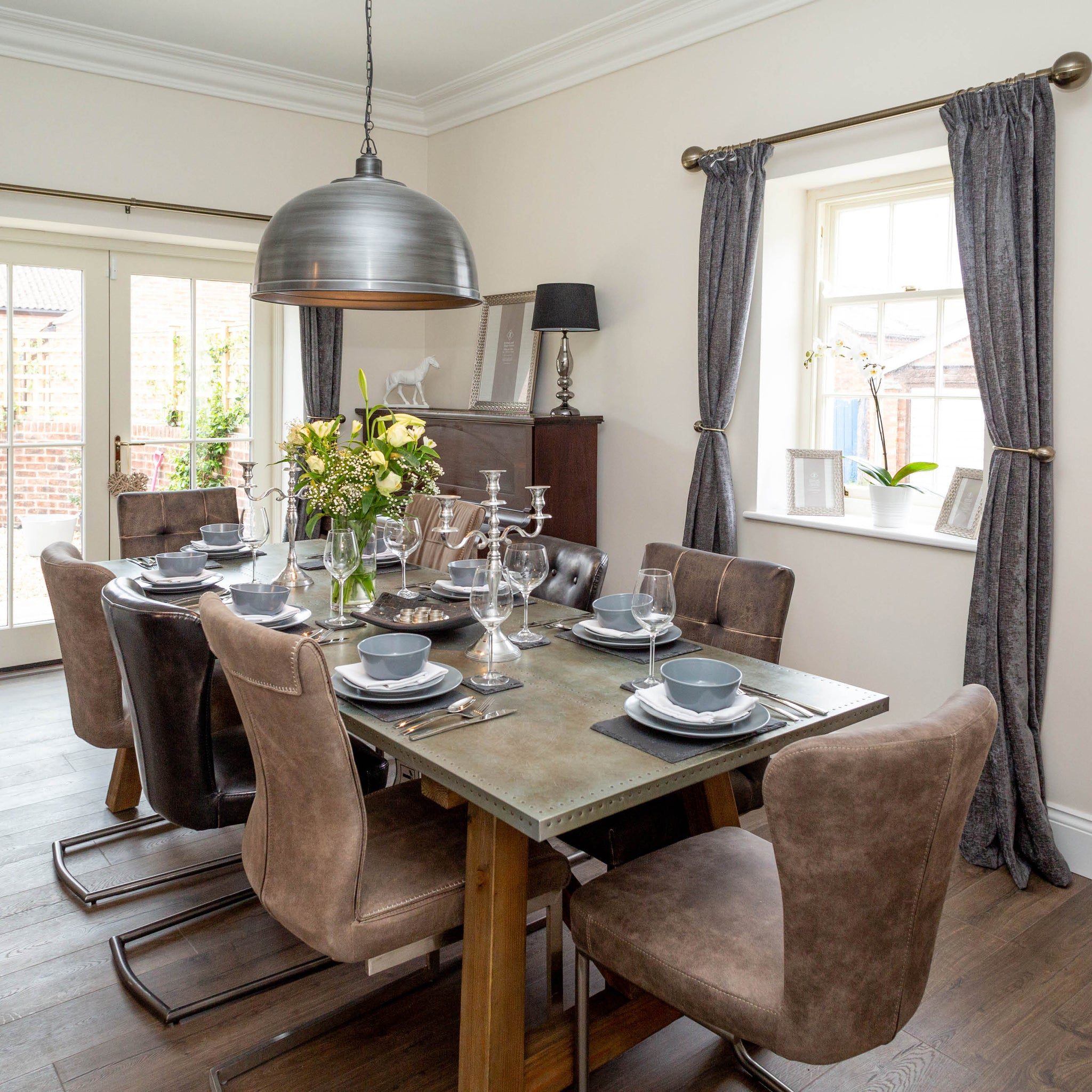 Grey and brown interior dining room