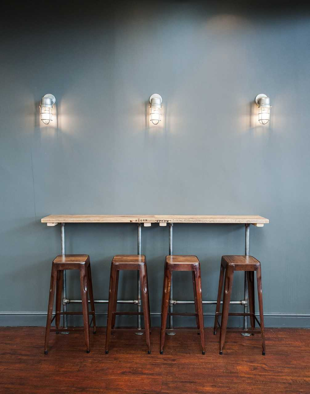 Industrial lighting over a study space