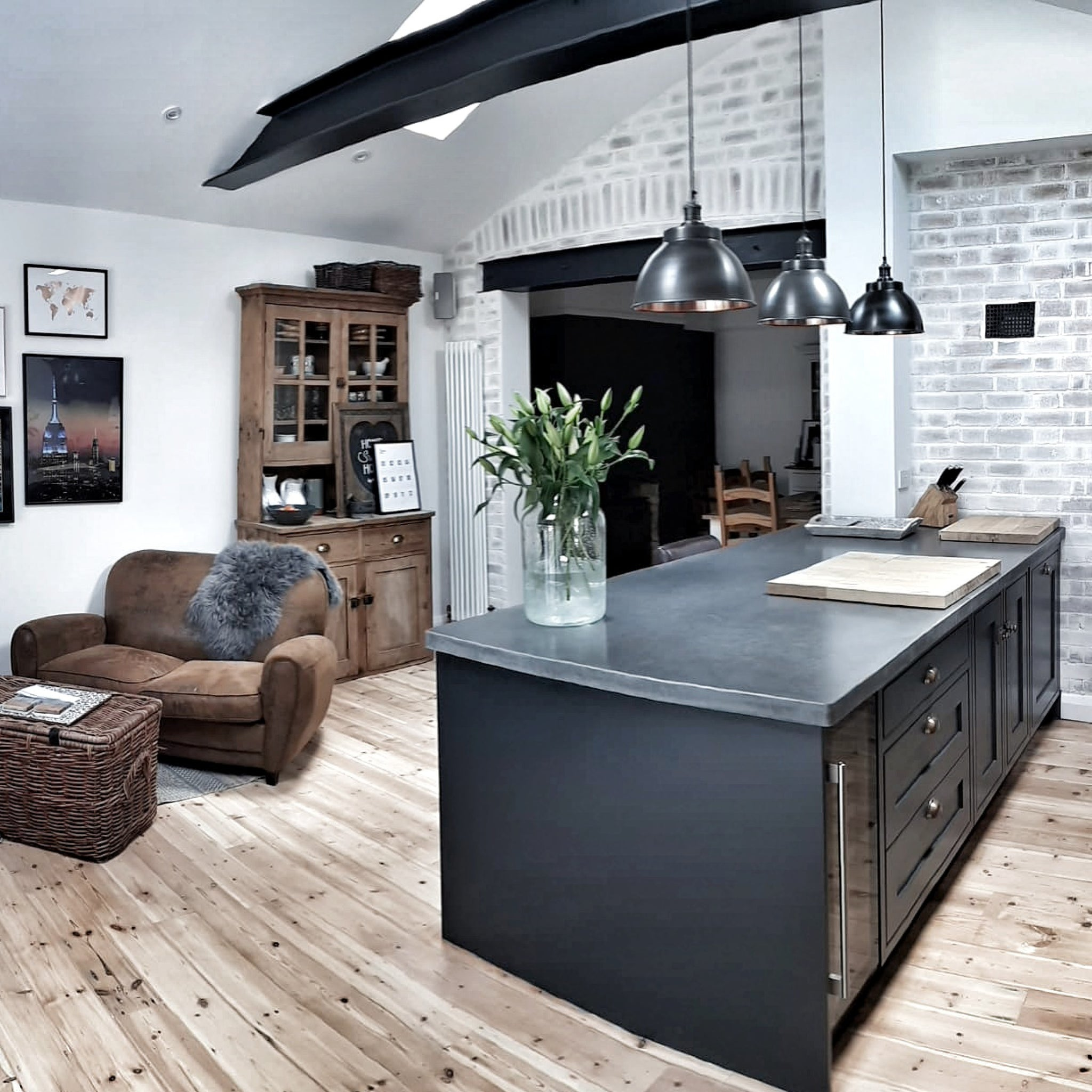 Open plan dark kitchen interior