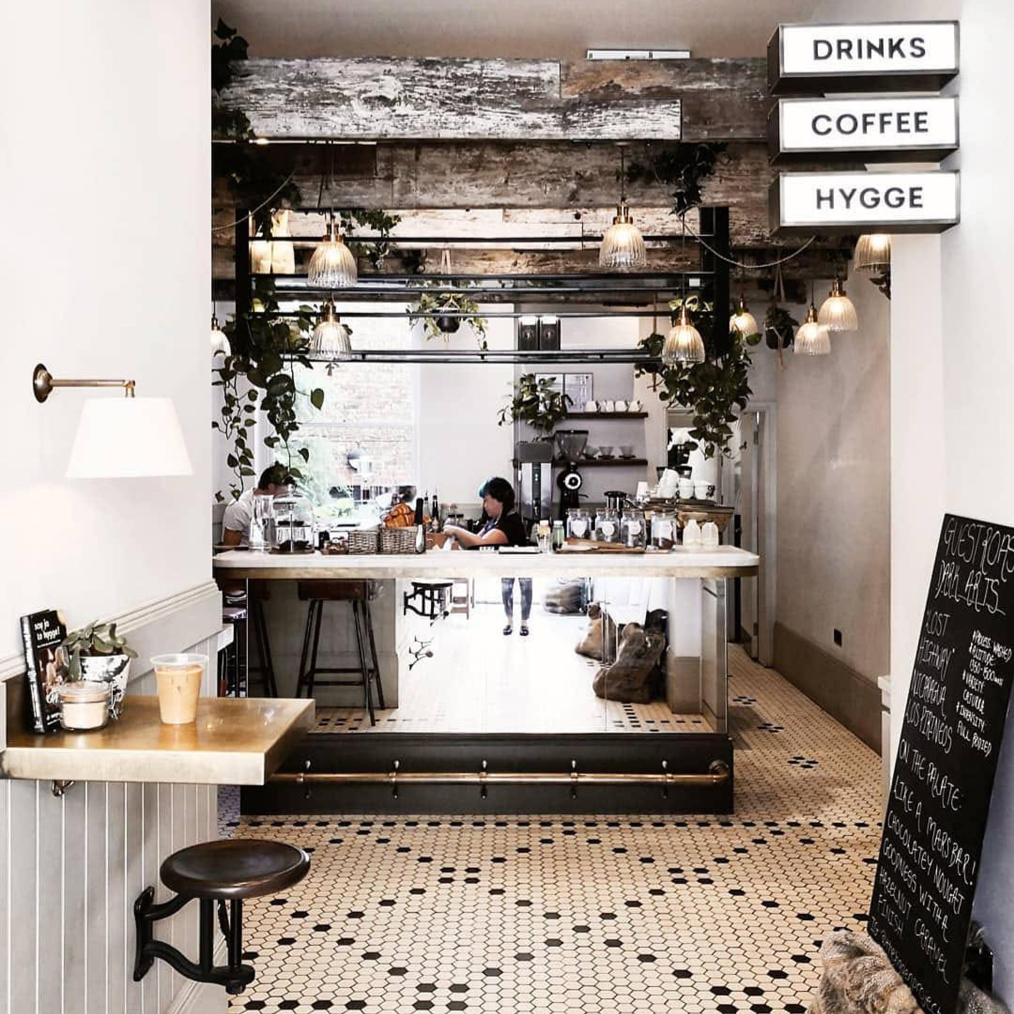 Industrial inspired coffee shop interior