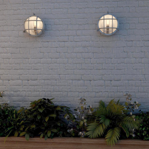 Two bulkhead lights on a wall above various plants