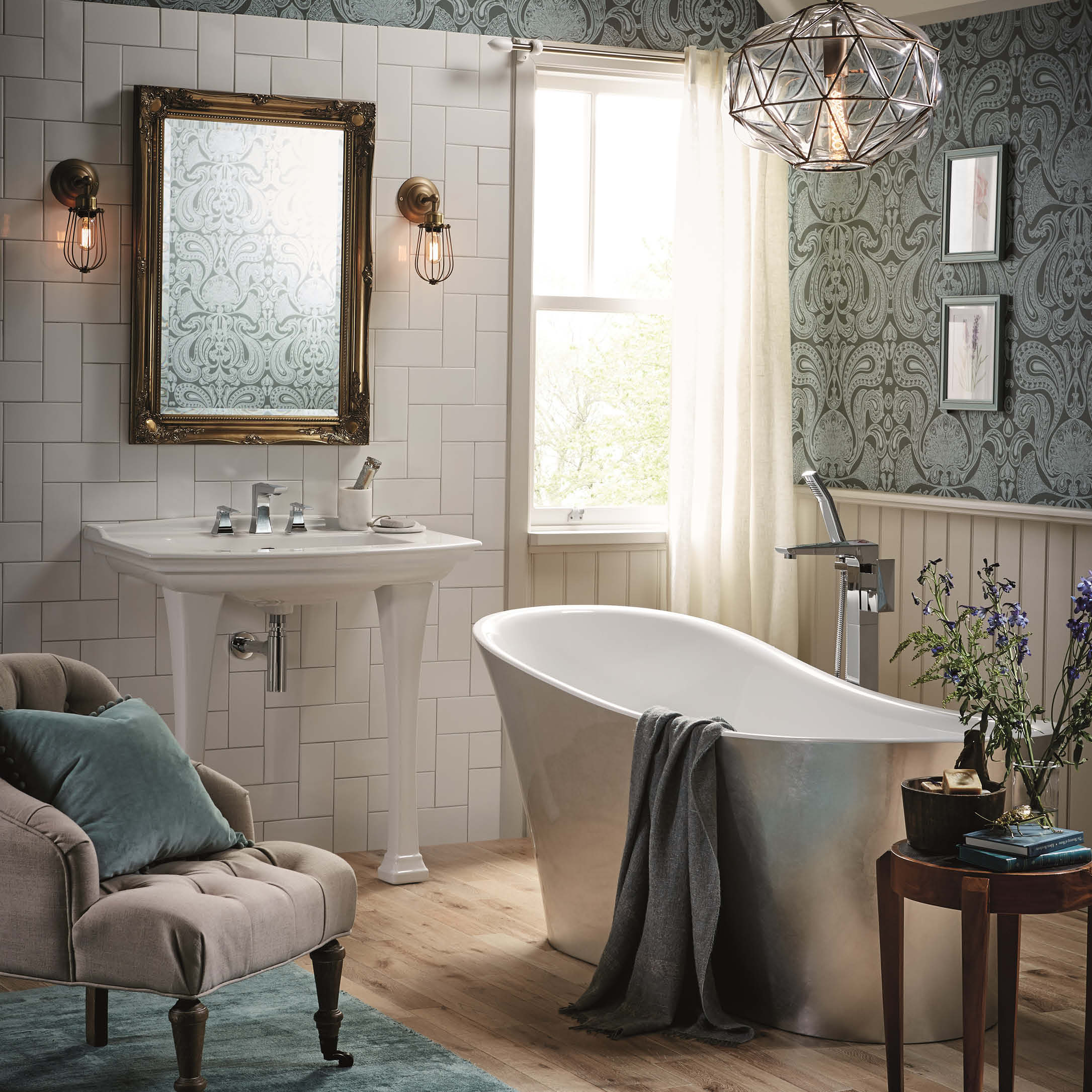 bathroom with roll top tub