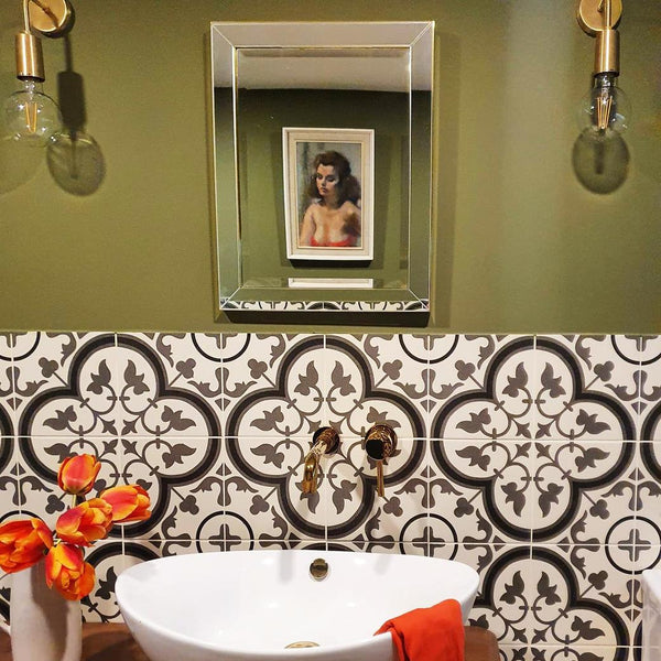 A classic bathroom with patterned tiles
