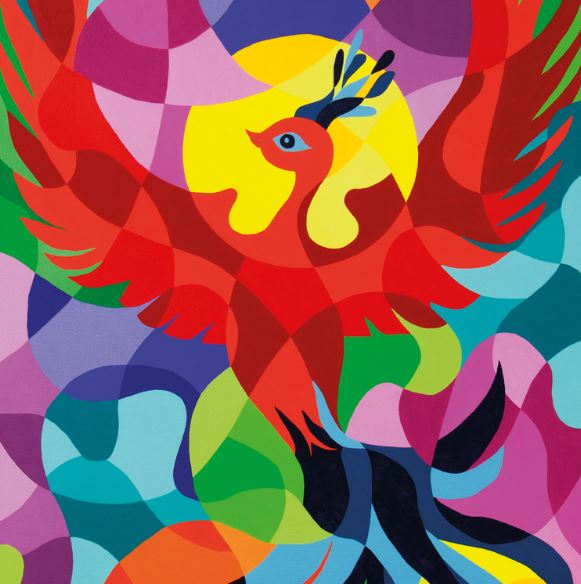 Multi coloured painting of a phoenix