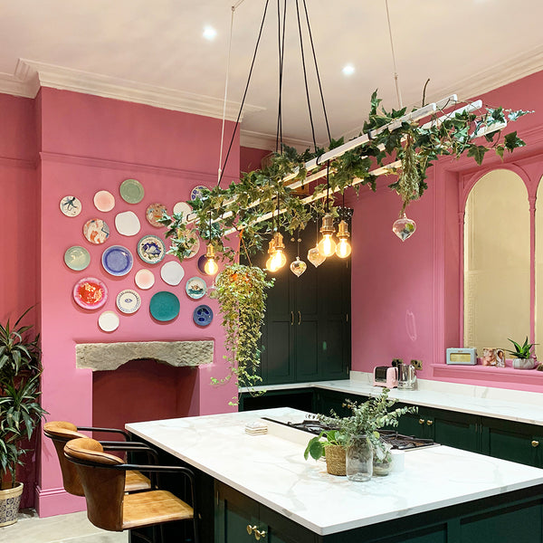 A pink kitchen with hanging plants and lighting by Industville