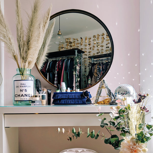 A maximalist bedroom dressing table with glamorous features