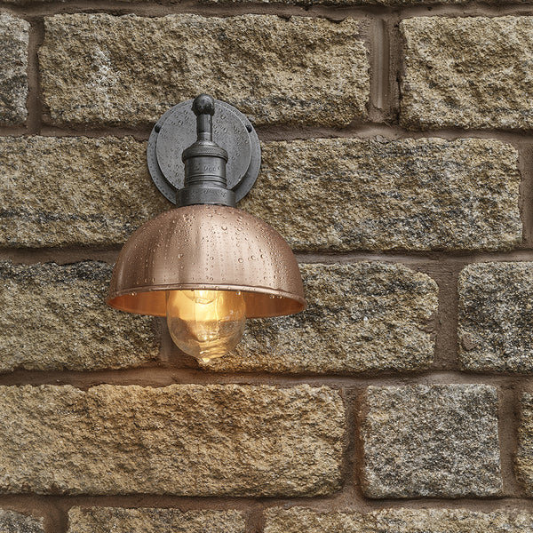 Copper industrial outdoor dome wall light