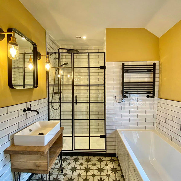 A bright bathroom with yellow walls