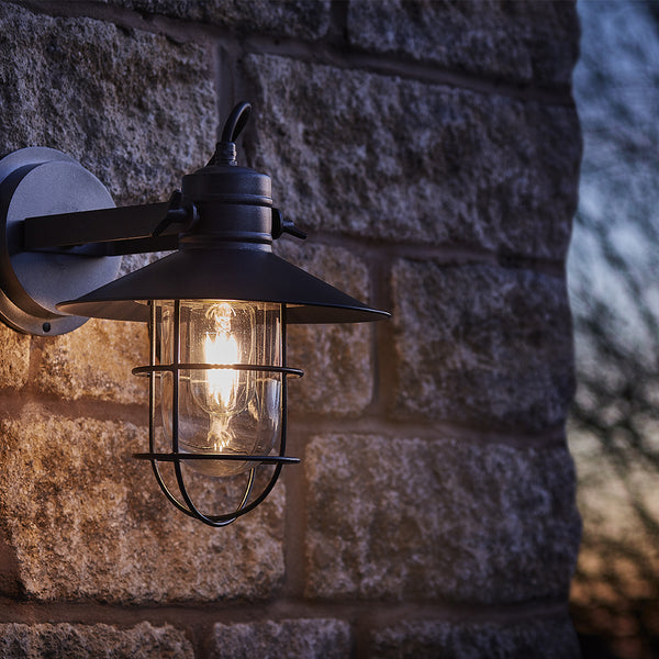 Pewter industrial outdoor flush mount wall light