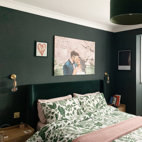 A modern green bedroom interior with brass lights by Industville