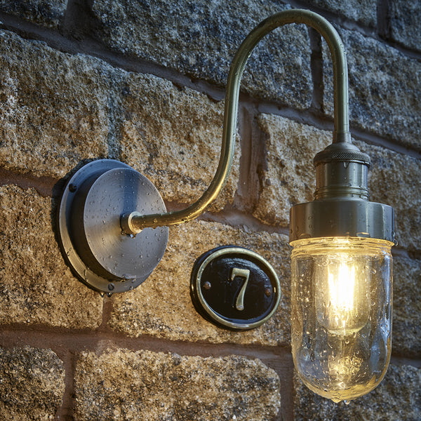 Brass swan neck industrial outdoor wall light