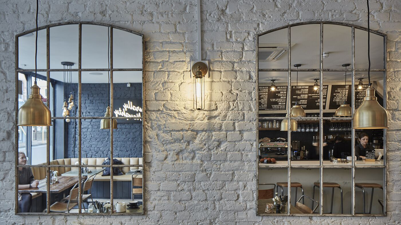 Industrial style cafe lighting