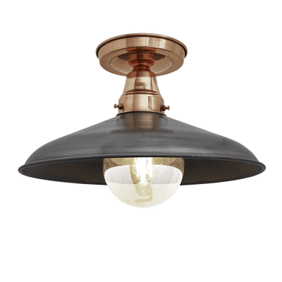 Barn Stem Flush Mount - 15 Inch - Copper & Pewter