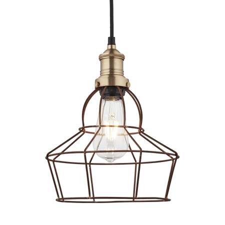 Brooklyn Rusty Cage Pendant - 8 Inch - Rose