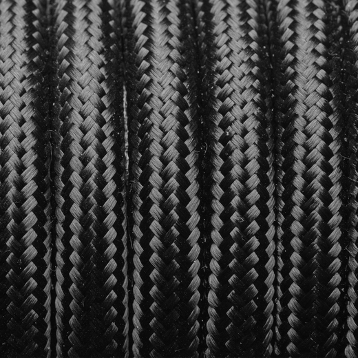 Black Round Fabric Flex - 3 Core Braided Cloth Cable Lighting Wire