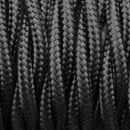 Black Twisted Fabric Flex - 3 Core Braided Cloth Cable Lighting Wire