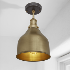 Brooklyn Vintage Small Metal Cone Flush Mount Light - Brass - 7 inch