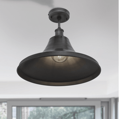 Brooklyn Vintage Giant Bell Metal Flush Mount Light - Pewter - 20 inch