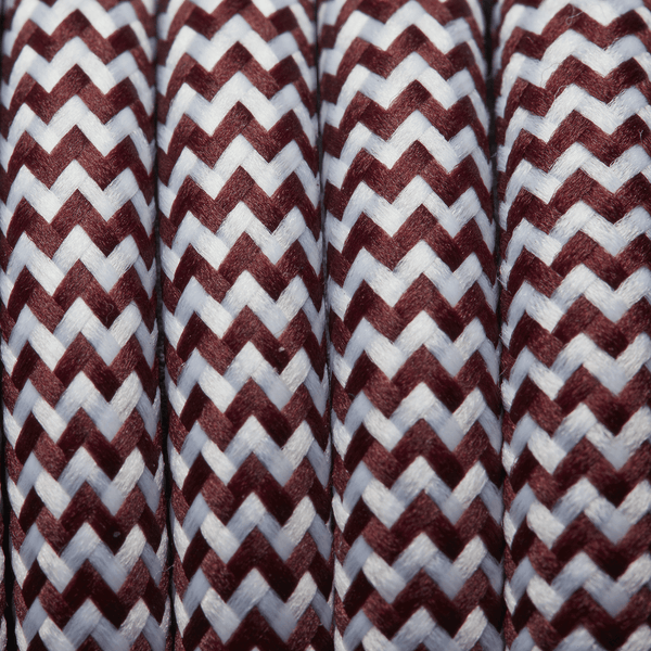 Burgundy & White Round Fabric Flex - Braided Cloth Cable Lighting Wire