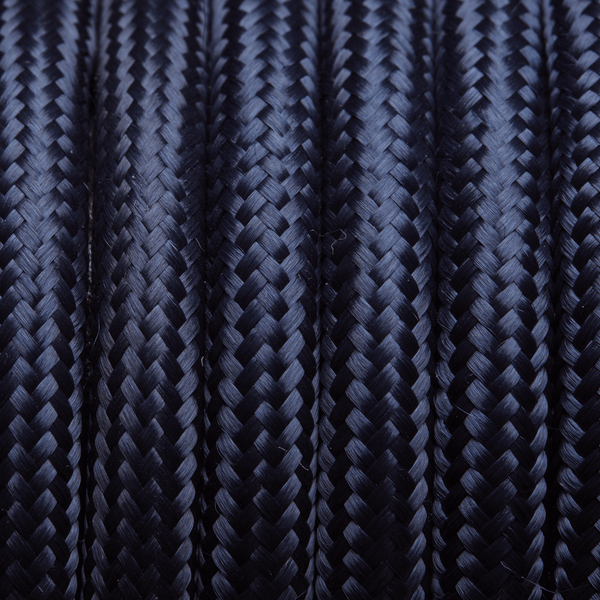 Dark Blue Round Fabric Flex - 3 Core Braided Cloth Cable Lighting Wire