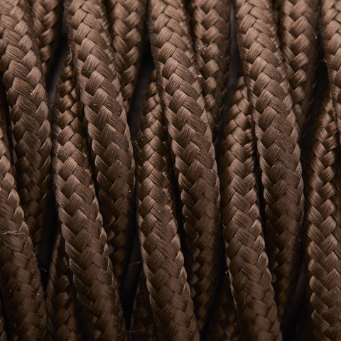 Dark Brown Twisted Fabric Flex - 3 Core Braided Cloth Cable Lighting Wire