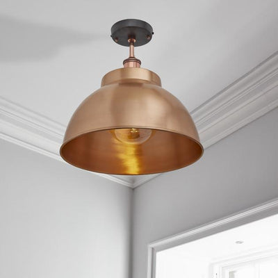 Brooklyn Vintage Metal Dome Flush Mount Light - Copper - 13 inch