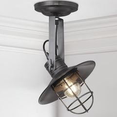 Harbour Vintage Flush Mount Adjustable Retro Light - Dark Pewter