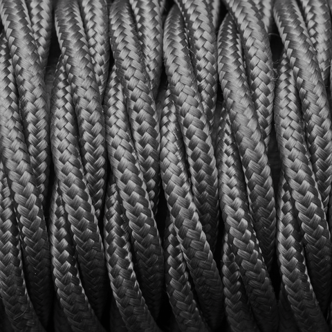 Grey Twisted Fabric Flex - 3 Core Braided Cloth Cable Lighting Wire
