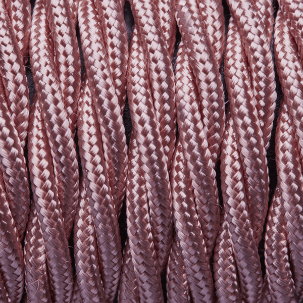 Pale Pink Twisted Fabric Flex - Braided Cloth Cable Lighting Wire
