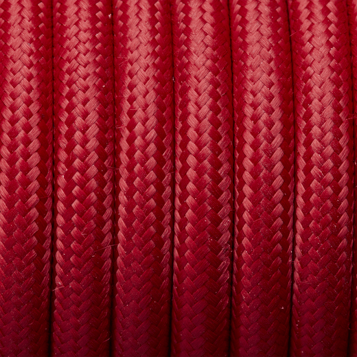 Red Round Fabric Flex - 3 Core Braided Cloth Cable Lighting Wire