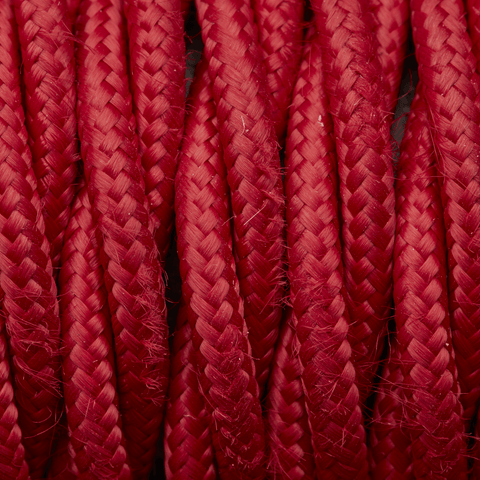 Red Twisted Fabric Flex - 3 Core Braided Cloth Cable Lighting Wire