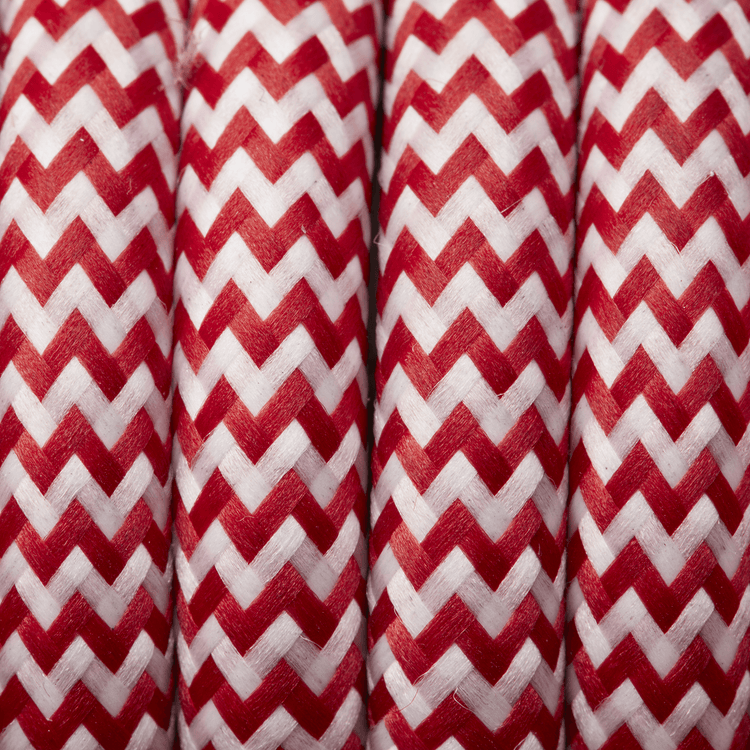 Red & White Round Fabric Flex - Braided Cloth Cable Lighting Wire