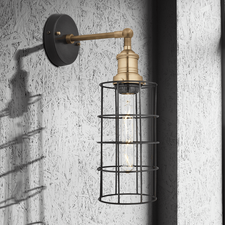 Simple Vintage Wire Cage Wall Light - Pewter - Cylinder