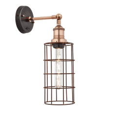 Simple Vintage Rusty Cage Wire Wall Light - Cylinder
