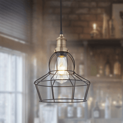 Simple Vintage Wire Cage Pendant Light Pewter Rose