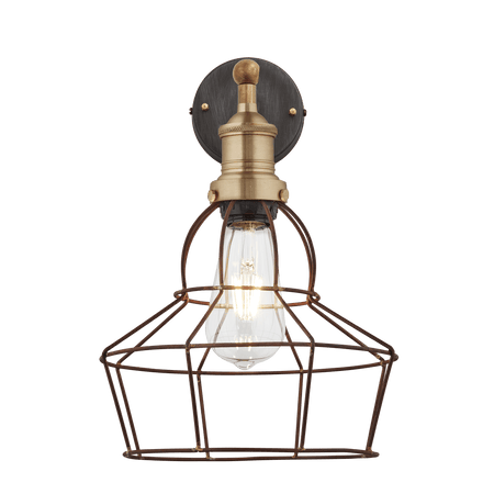 Brooklyn Rusty Cage Wall Light - 8 Inch - Rose