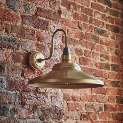 Swan Neck Giant Step Wall Light - 18 Inch - Brass