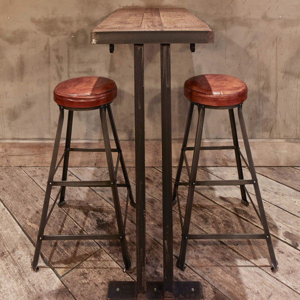 Tall Vintage Real Leather Amp Metal Work Bar Stool 32 Inch