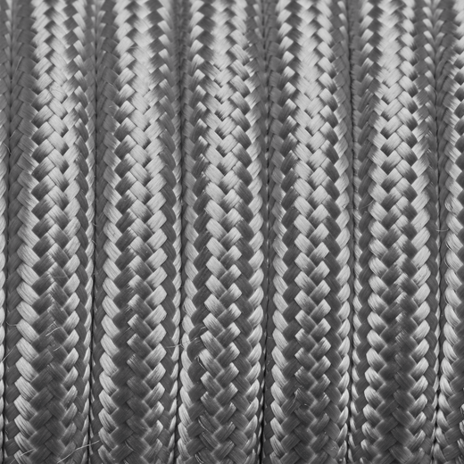 Silver Round Fabric Flex - 3 Core Braided Cloth Cable Lighting Wire