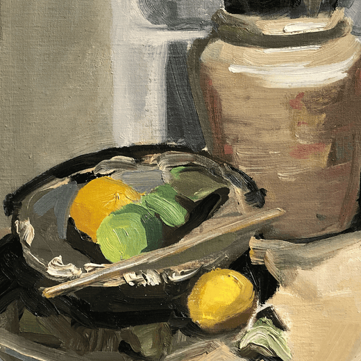 Still life with lemons, brushes and a stick